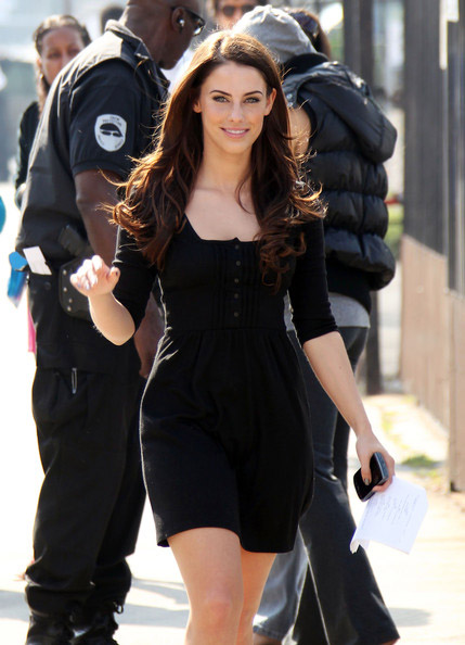 Jessica Lowndes street style in a long black dress