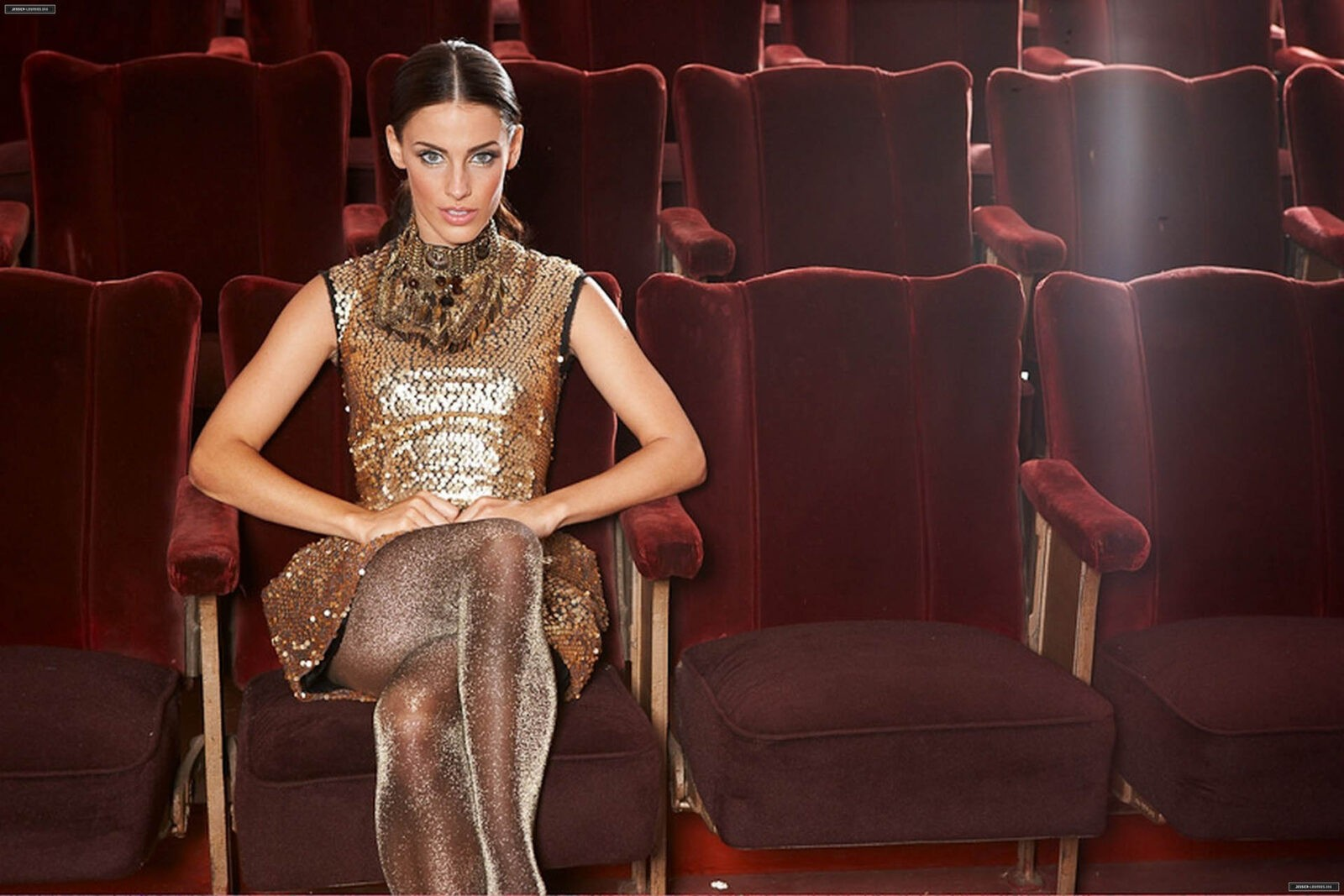 Picture Jessica Lowndes sitting on a chair in the theater