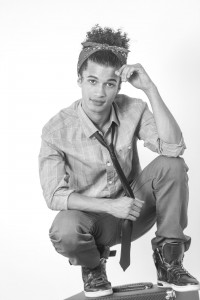 Black and white photo Jordan Fisher wearing a tie
