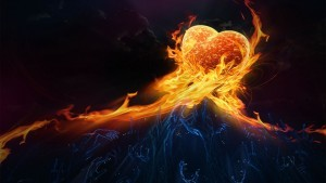Fire heart purple hands black abstract HD background