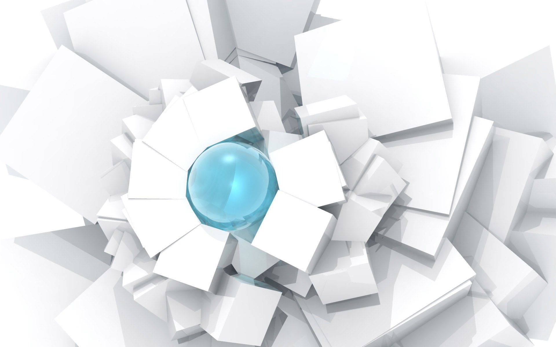 Blue ball in center white abstract photo 1920 x 1200