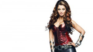 White wallpaper Aishwarya Rai Bachchan dressed in leather costume