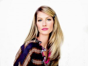 The cute Gisele Bundchen white background