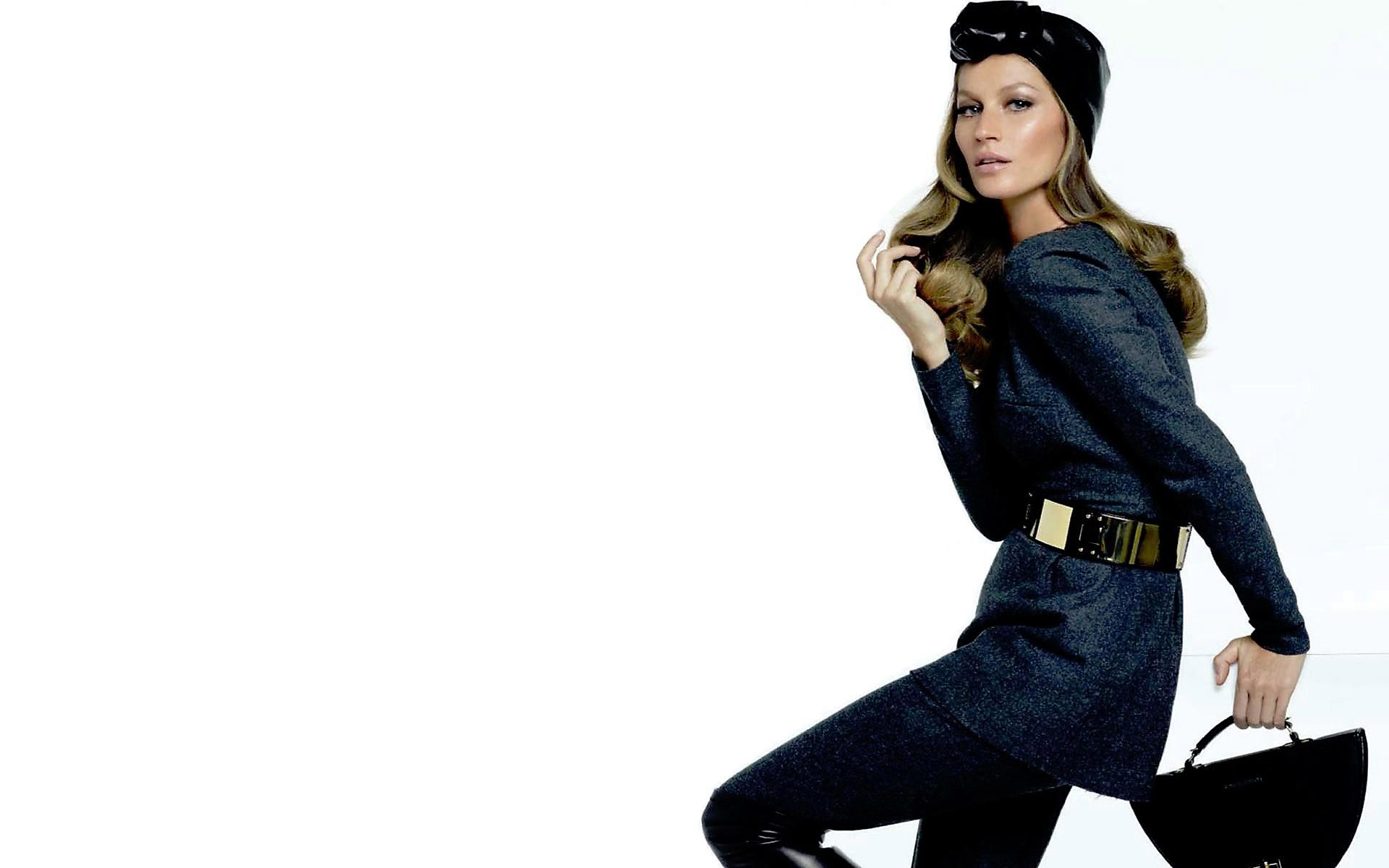 Gisele Bundchen in a hat on white background for free use