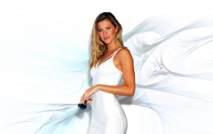 Widescreen background Gisele Bundchen in white dress