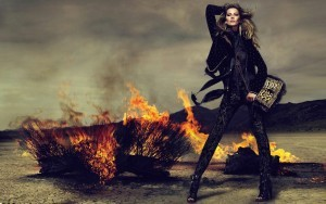 Widescreen Gisele Bundchen on bonfire background