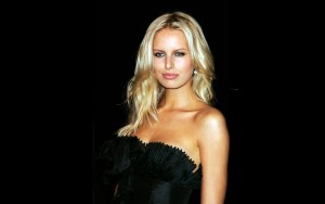 Blonde Karolina Kurkova black dress