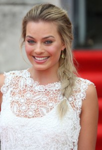 Margot Robbie in white dress