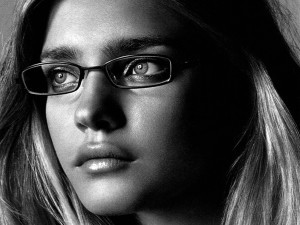 Black and white Natalia Vodianova in glasses, face, lips, eyebrows