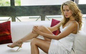 Petra Nemcova in short white skirt