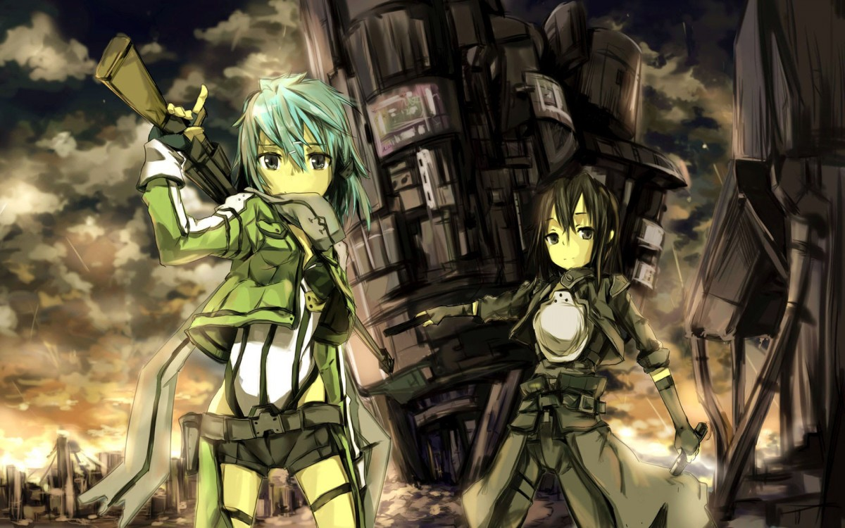 SAO 2 Wallpaper Sinon an Kirito Gun gale online