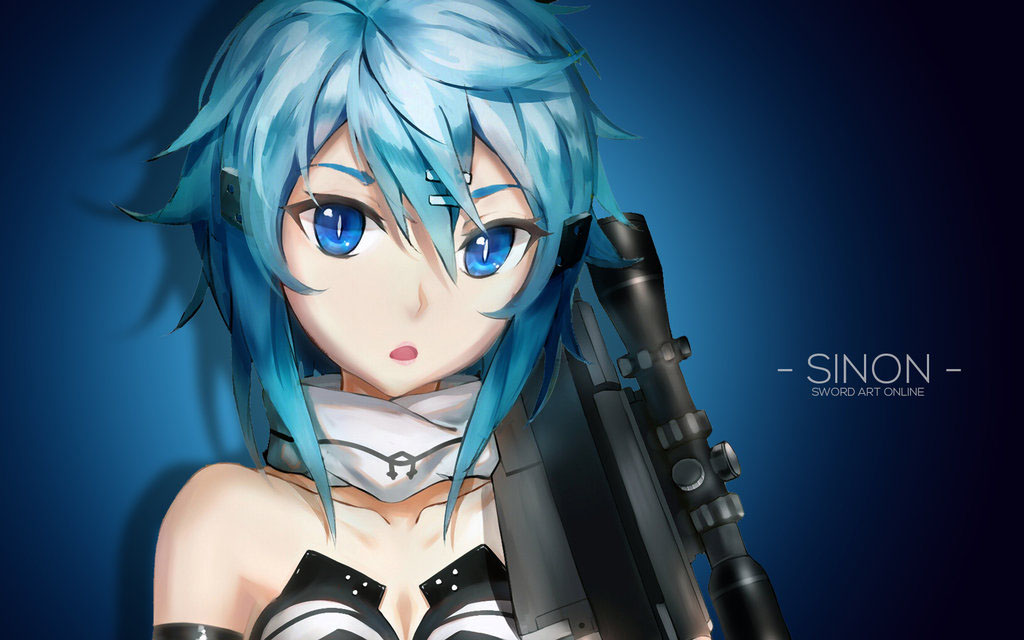 Art wallpaper Sinon face and hairstyle