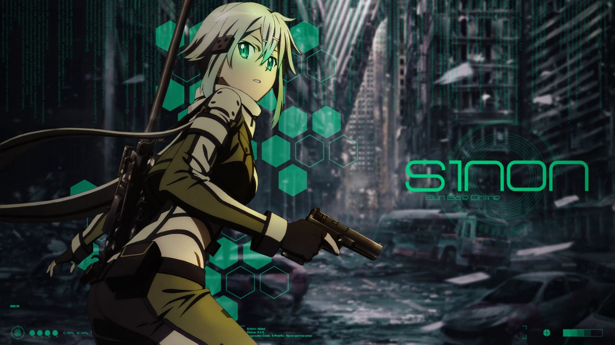 Wallpaper Sinon with pistol