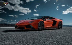 Red Lamborghini Aventador roadster wallpaper