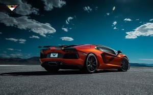 Red Lamborghini Aventador outdoor background