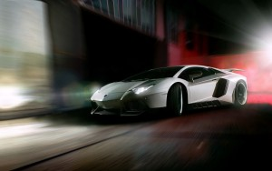 White Lamborghini Aventador speed background