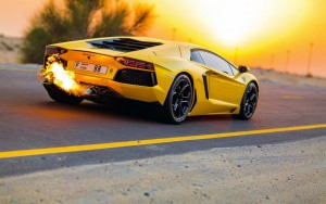 Yellow Lamborghini Aventador HD pic sunset