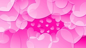 Many pink hearts abstract