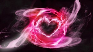 Amazing heart pink abstract HD wallpaper - black background