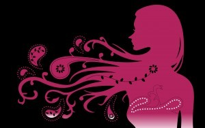 Cute girl pink abstract vector wallpaper