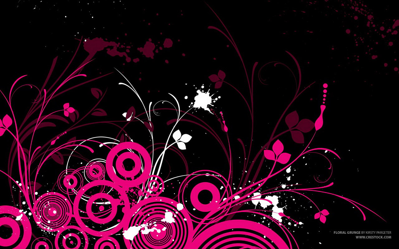Pic pink abstract circles on the black background for iPhone device
