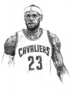 BW Lebron James draw