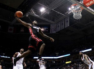 Lebron James is dunking