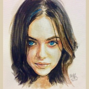 Acrylic painting of Odeya Rush wallpaper