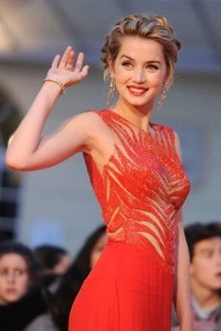Ana de Armas in red dress for iPhone background
