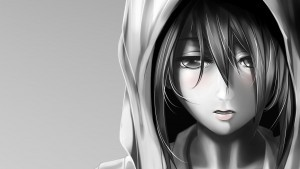wallpaper of Attack On Titan Mikasa Ackerman bw