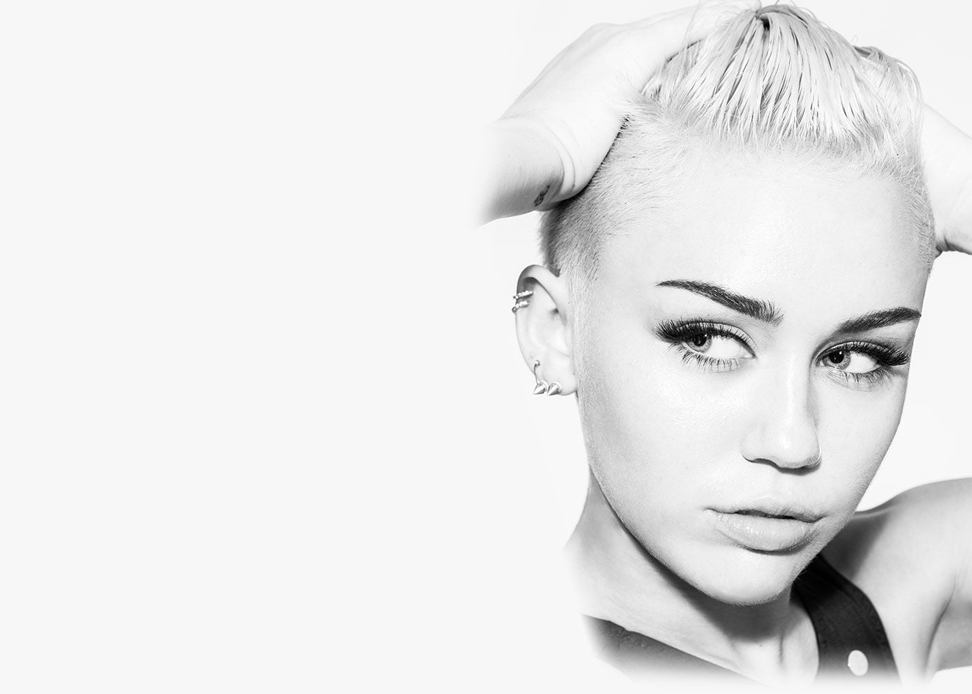 BW Miley Cyrus face pictures