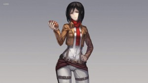 Costume of Mikasa Ackerman Attack On Titan background