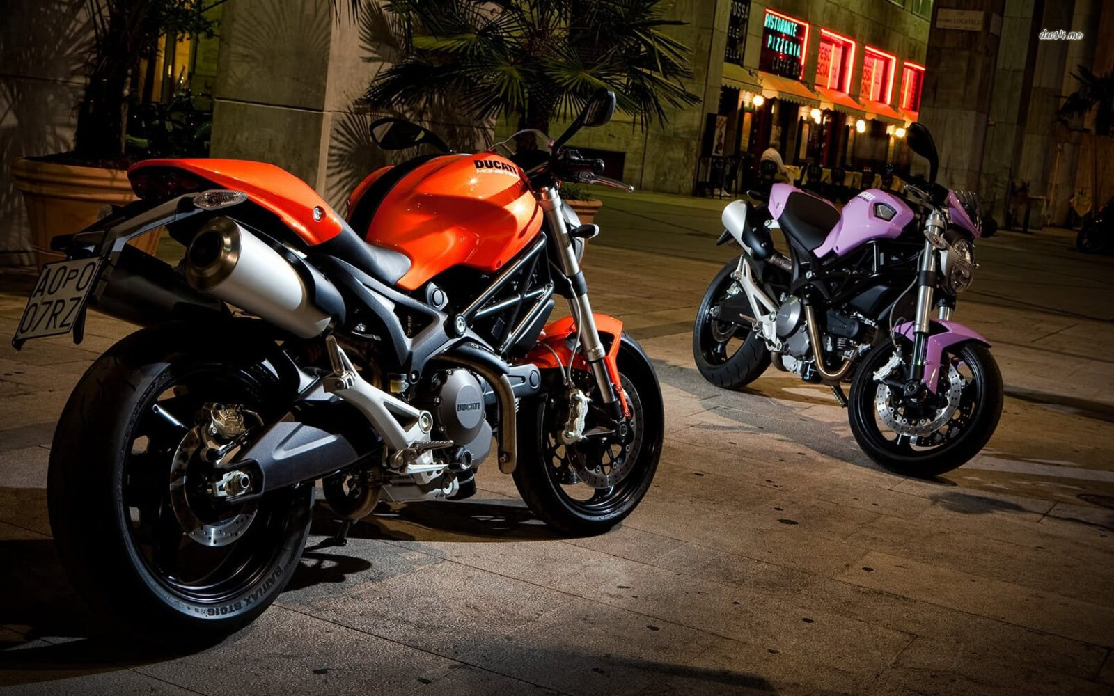Ducati Monster 696 orange and blue