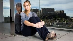 Photo of Jennifer Shrader Lawrence near castle