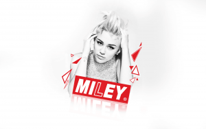 Miley Cyrus bw and red full HD image logotype