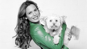 wallpaper of Nadine Velazquez with dog