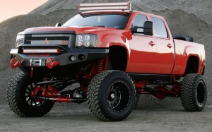 Red monster GMC Sierra 4x4 full HD image