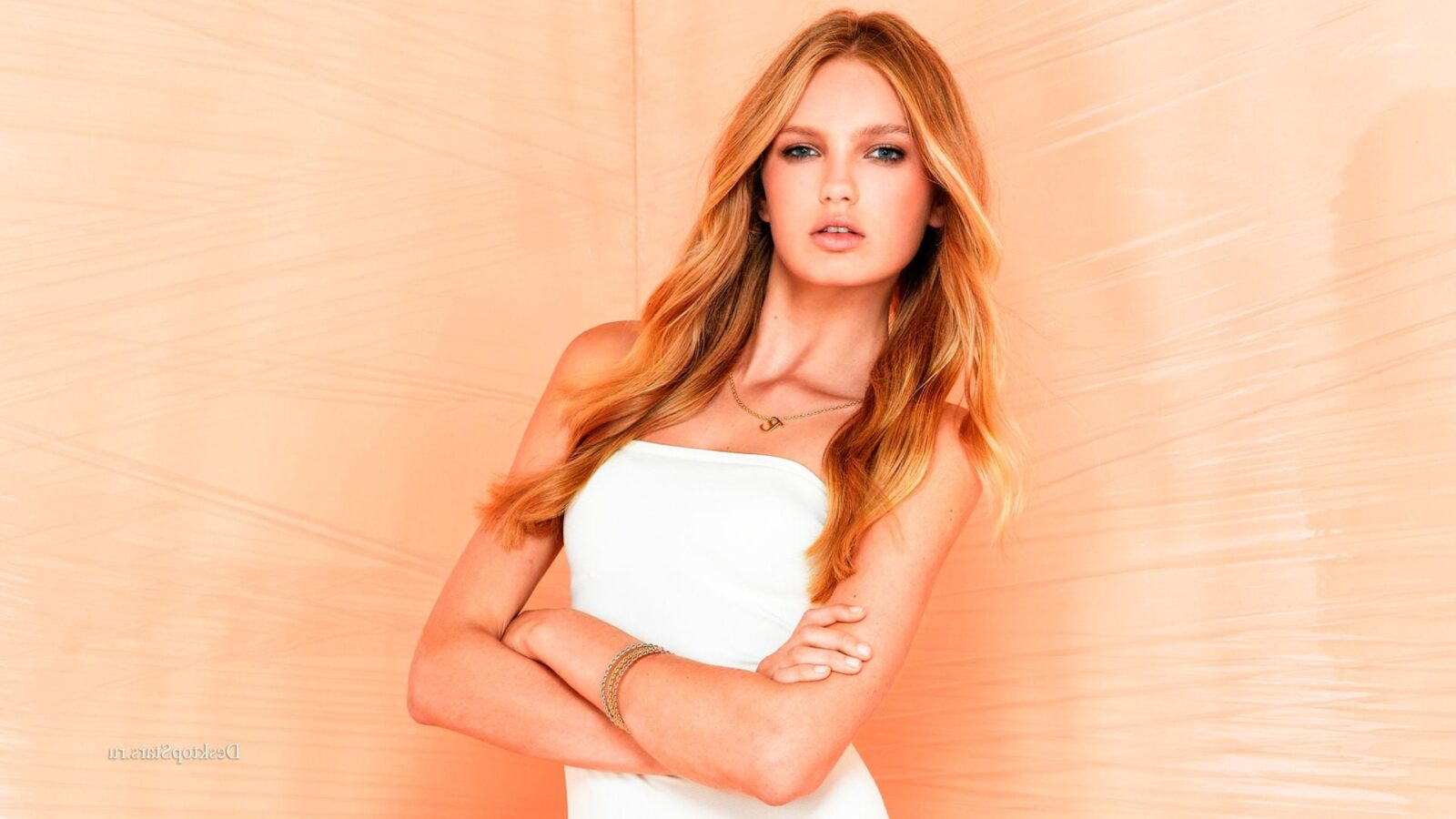 wallpaper of Romee Strijd in white dress