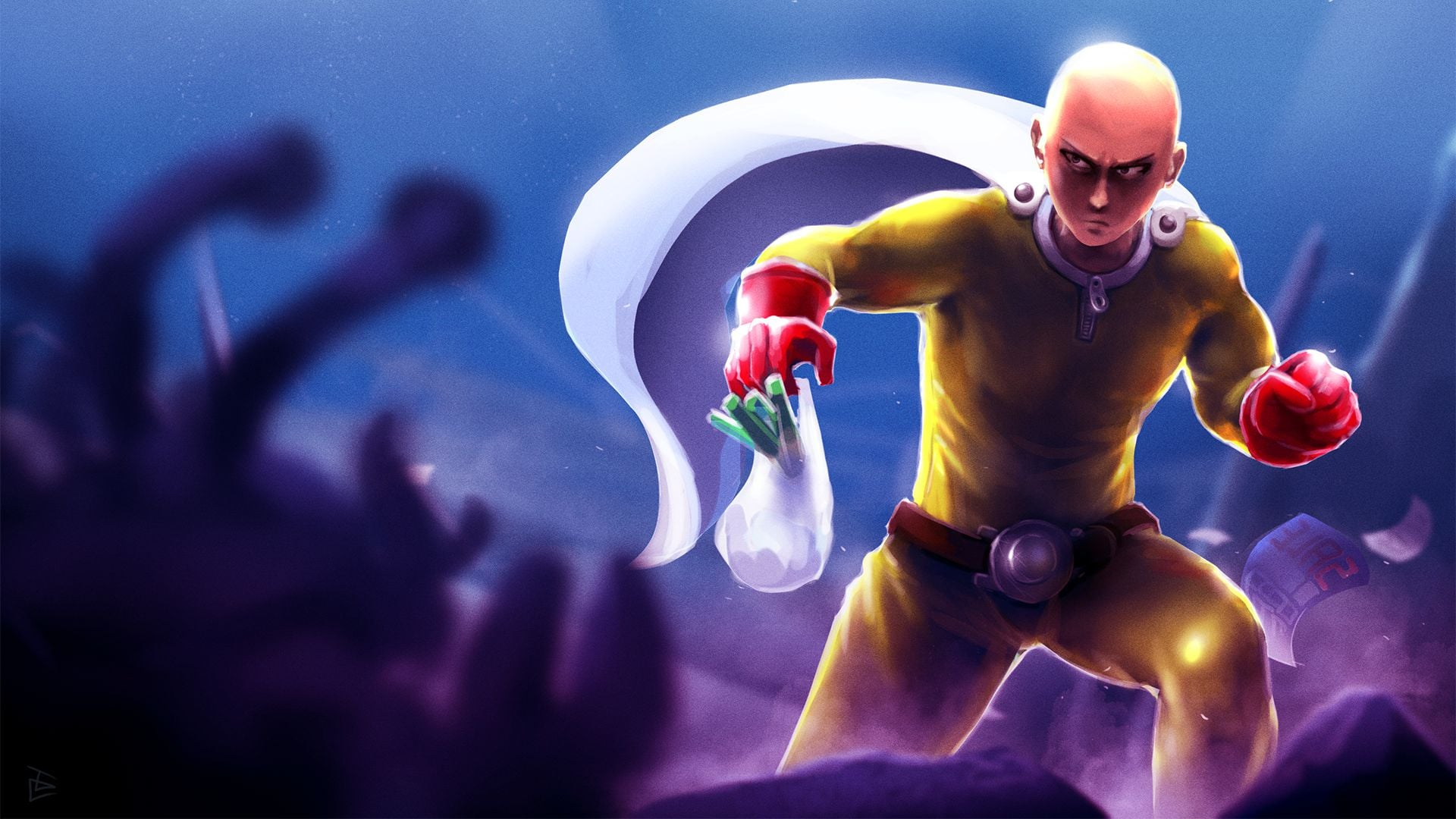 One Punch Man Saitama widescreen