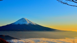 morning fog mount Fuji full HD image