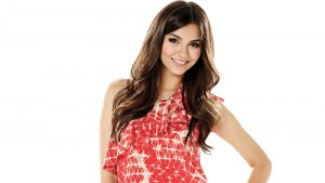 Image of smile Victoria Justice in the red dress