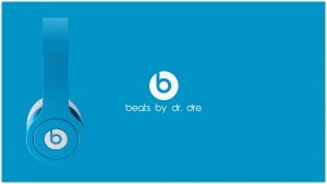 White logo Beats By Dr Dre blue free download