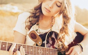 Girl with guitar widescreen