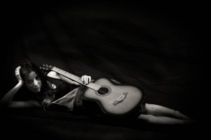Girl with guitar black theme