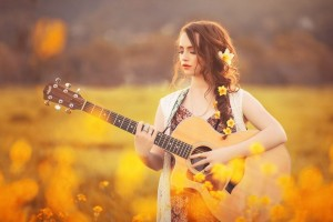 Girl with guitar High Quality wallpapers