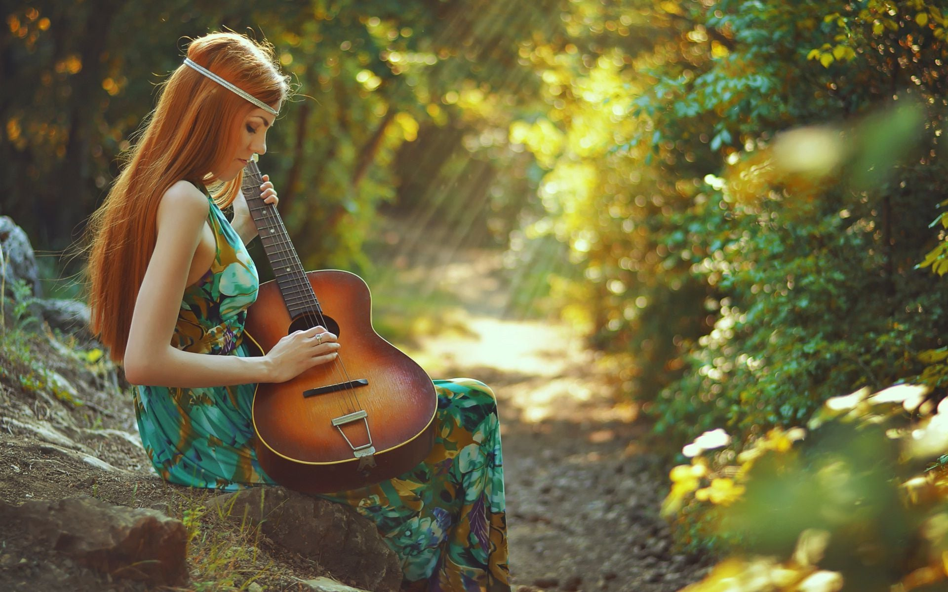 Girl with guitar nature High Resolution wallpaper