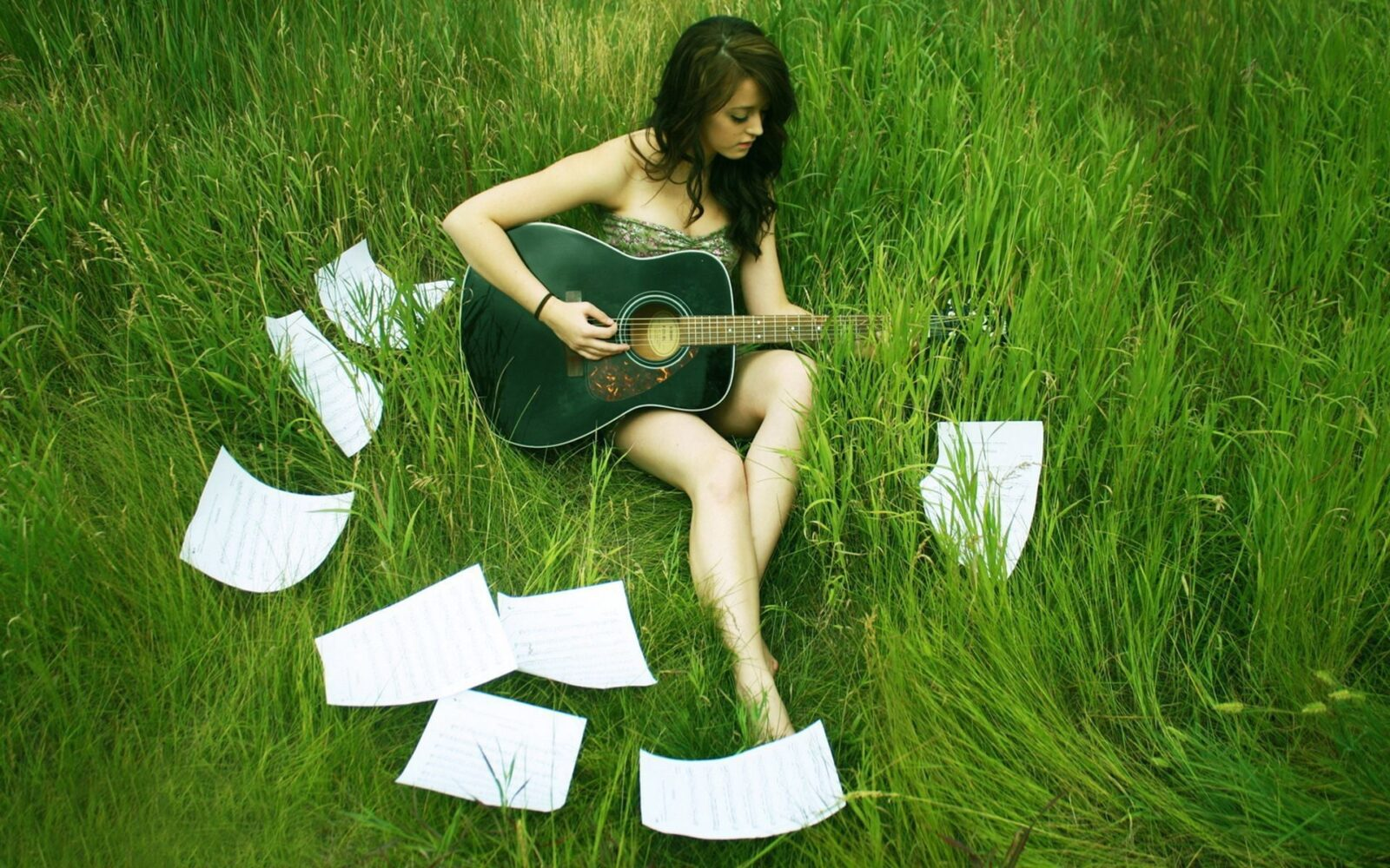 Girl with guitar on the grass full HD image