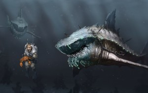 Wallpaper of Great White Shark monster