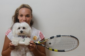 Tennis Racquet girl and puppy HD pic for PC