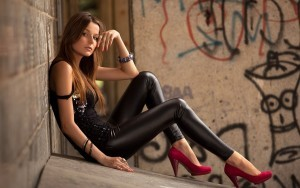 girl leather leggings HD wallpapers